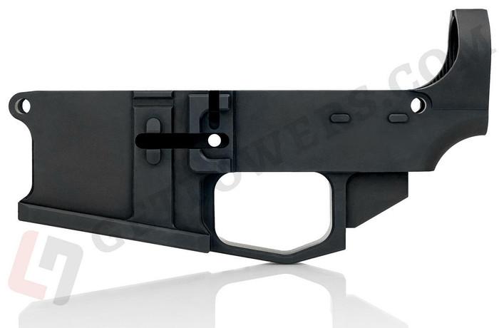 One Black AR15 80 Billet Lower Receiver From Left Side