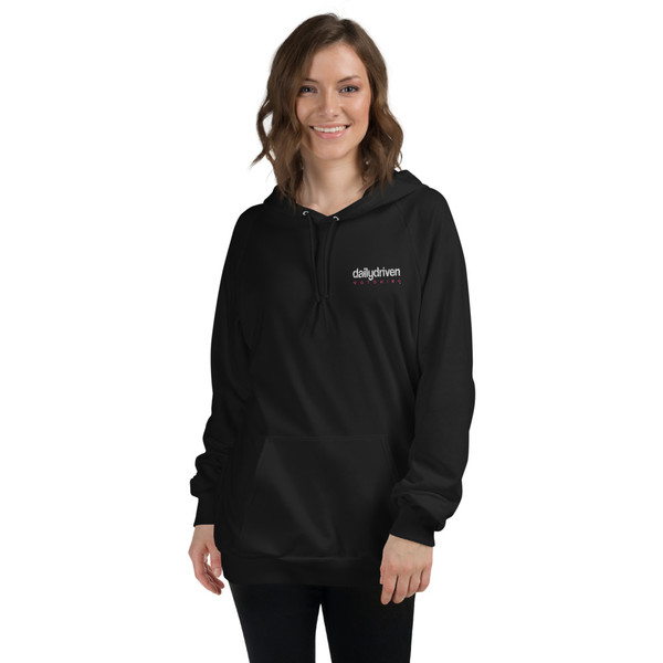 Daily Driven Motoring (White/Pink) - Unisex Fleece Hoodie (Embroidered)