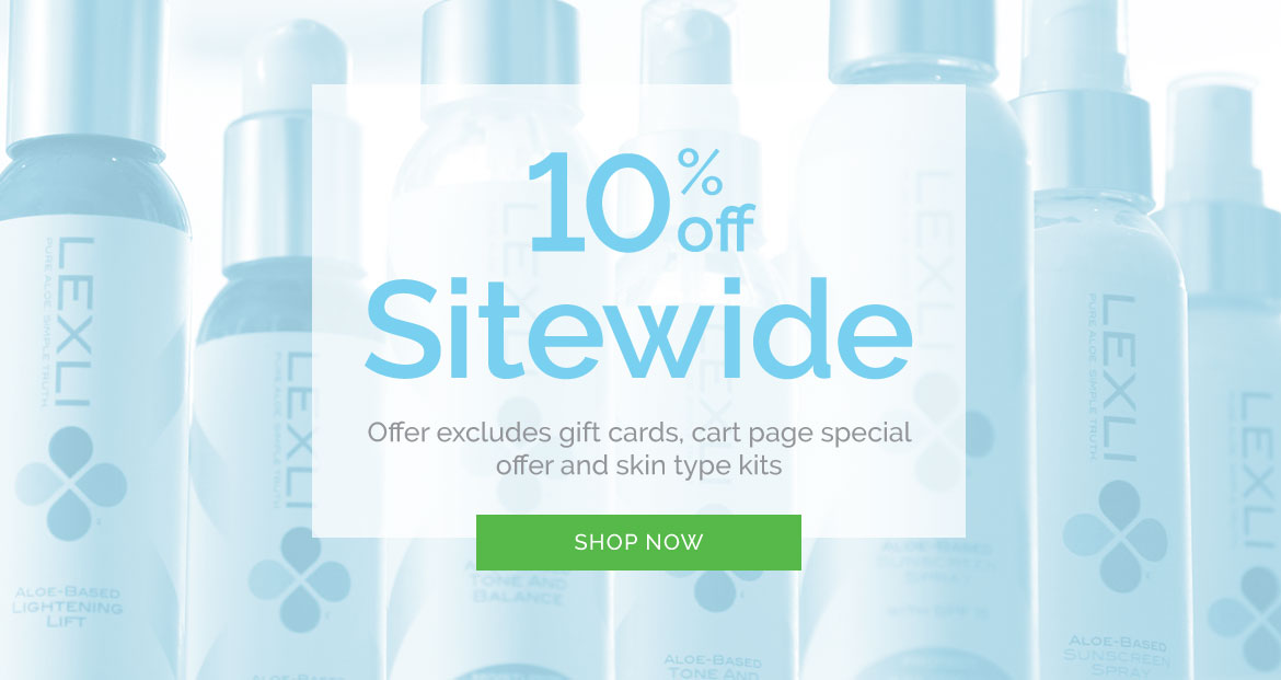 10% off Sitewide, excludes gift cards, cart page special offer and skin type kits