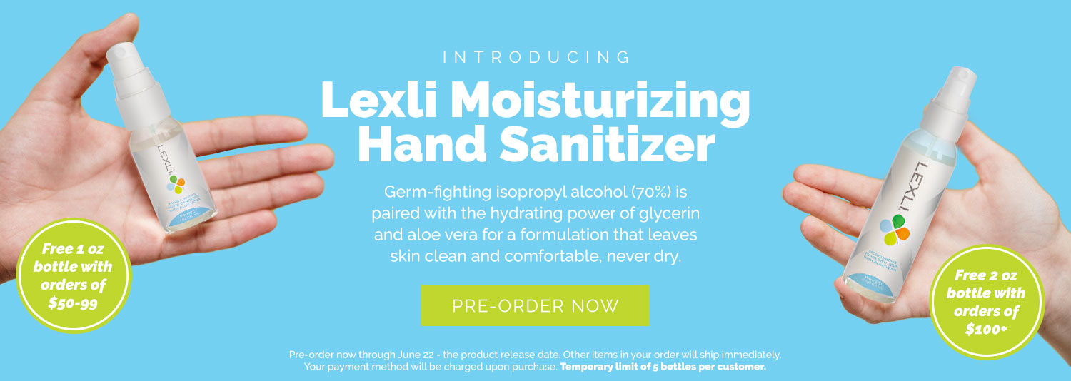 Introducing, Lexli's Moisturizing Hand Sanitizer, now available for pre-order until June 22