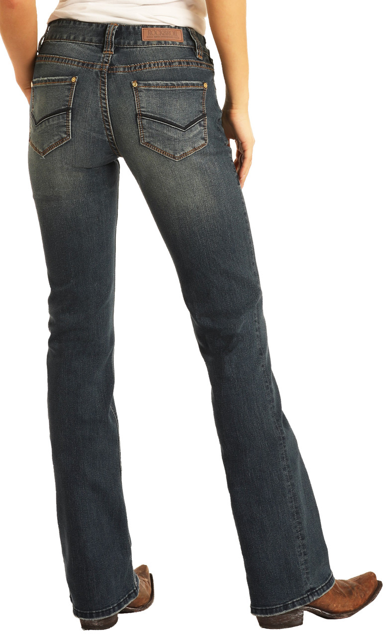 Women S Mid Rise Extra Stretch Bootcut Jeans Rock And Roll Denim