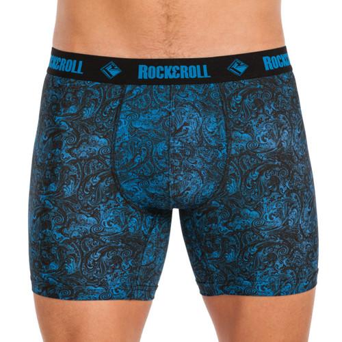 Performance Boxer Brief - Blue and Black Paisley #U6-8957
