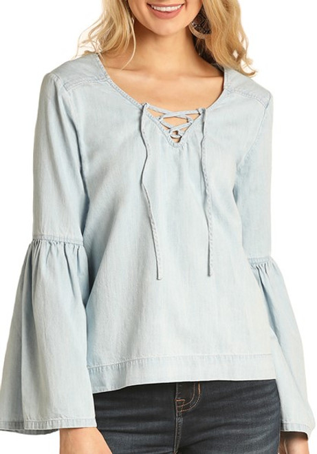 Bell Sleeve Denim Top #B4-4491