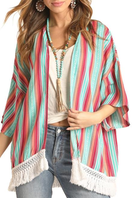 Striped Fringe Kimono #B4K4510