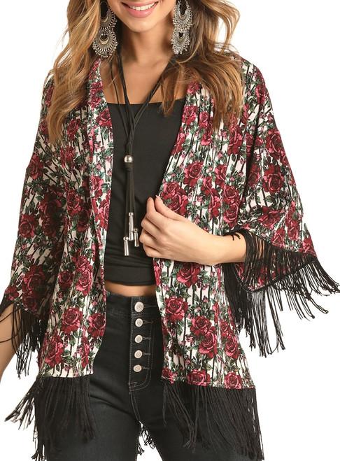 Rose Striped Fringe Kimono #B4K4512