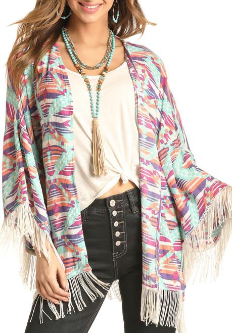 Aztec Fringe Kimono #B4K4516