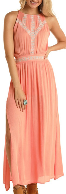 Aztec Embroidered Crinkle Maxi Dress #D5-5155