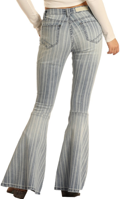 High Rise Extra Stretch Striped Bell Bottom Jeans #WHB5285