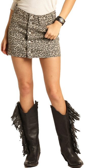 Mid Rise Leopard Print Button Fly Skirt #69-4147