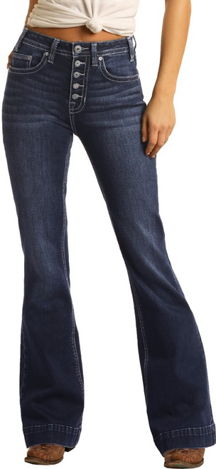 High Rise Extra Stretch Button Fly Trouser Jeans #W8H4165