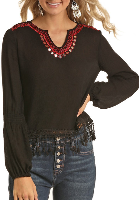 Embroidered Bishop Sleeve Blouse #B4-5149