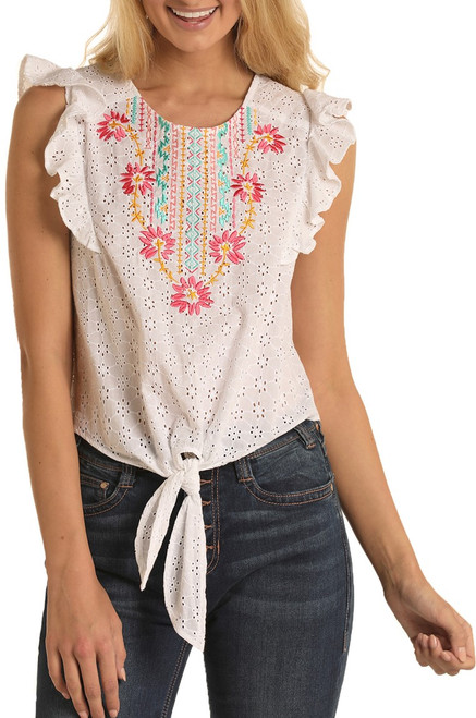 Floral Embroidered Eyelet Blouse #B5-5140