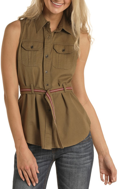 Sleeveless Military Button Down Shirt #B5B5147