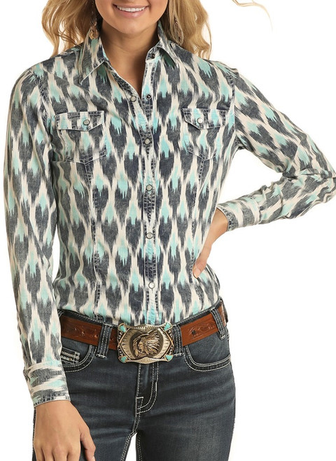 Ikat Print Long Sleeve Snap Shirt #B4S4067