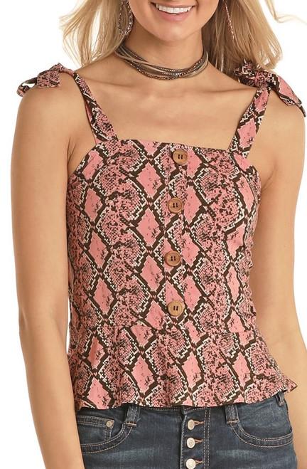 Pink Python Shoulder Tie Tank #B5-5138