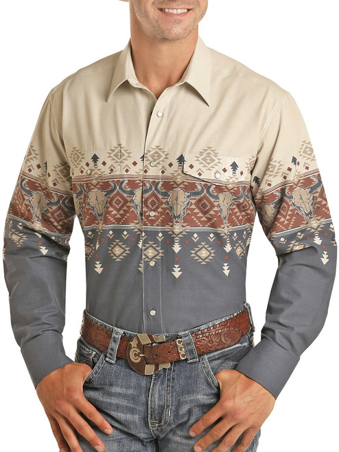 Relaxed Fit Steer Skull Scenic Border Long Sleeve Shirt #30S5049