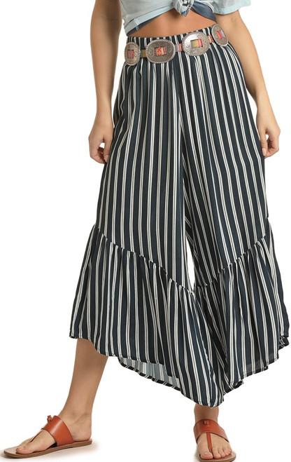 Striped Wide Leg Ruffle Pants #72-5146