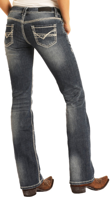 Mid Rise Stretch Bootcut Riding Jeans #W7-9516