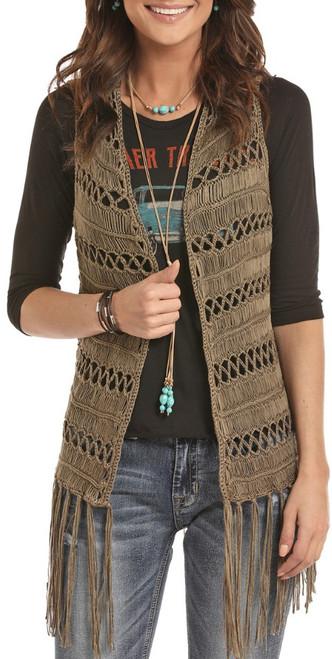 Long Crochet Fringe Vest #49V8317
