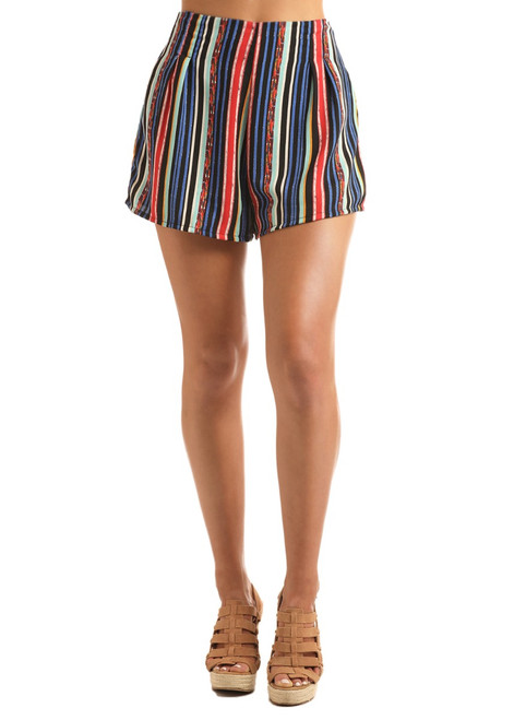 Striped Pleated Shorts #68-1441