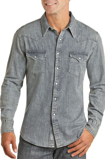Slim Fit Washed Denim Snap Shirt #B2S2311