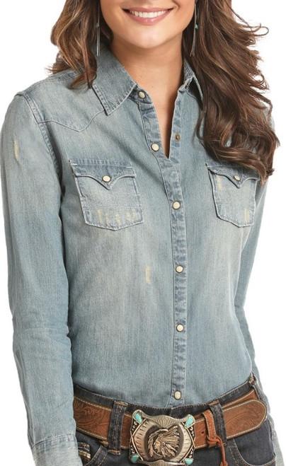 Distressed Denim Long Sleeve Snap Shirt #B4S3170