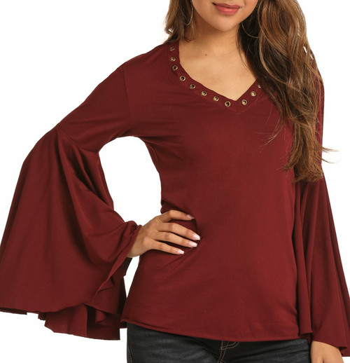 Red Bell Sleeve Top #48T3132
