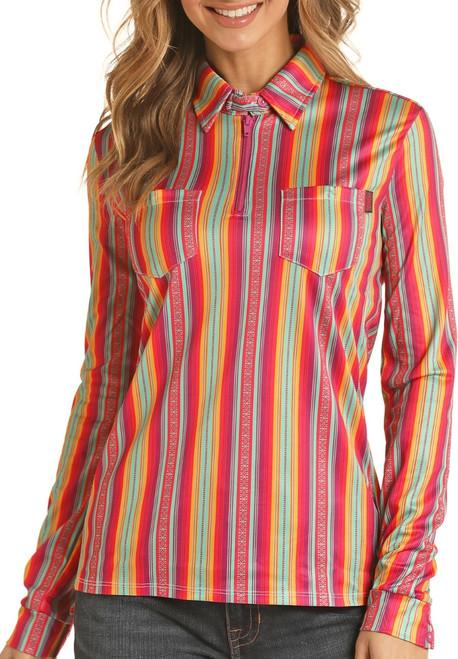 Striped Long Sleeve Zip-Up Core Knit Shirt #48Z4521
