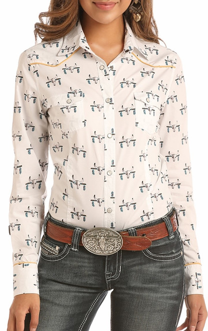Steer Print Long Sleeve Snap Shirt #B4S2312