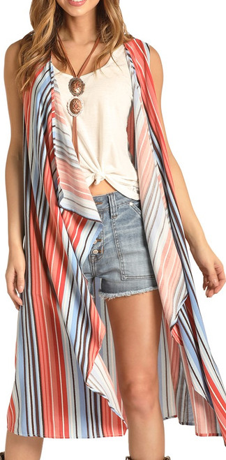 Striped Sleeveless Duster #B5V4507