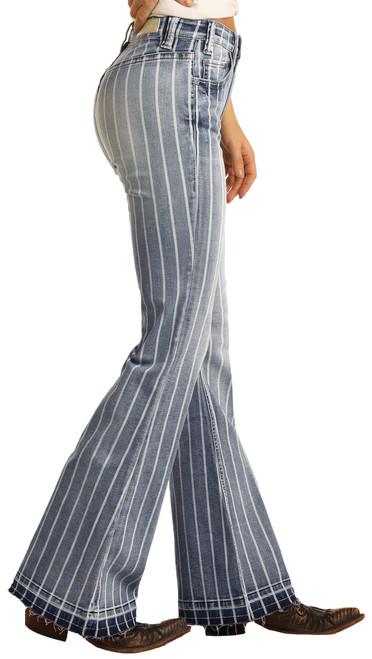 High Rise Extra Stretch Striped Trouser Jeans #W8H2533