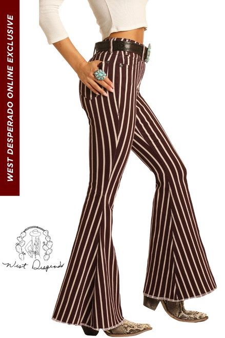 High Rise Maroon Striped Bell Bottom Jeans #WHB6218