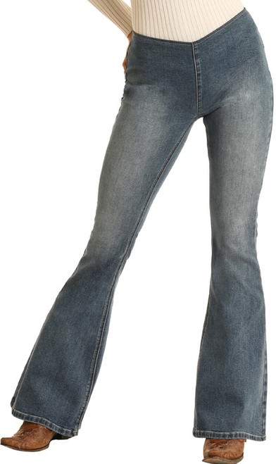 Bargain Bells High Rise Stretch Pull-On Flare Jeans #WPH7546