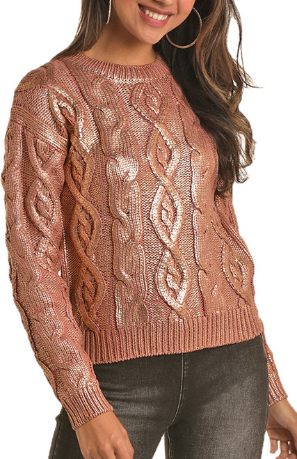 Metallic Cable Knit Sweater #46-6262