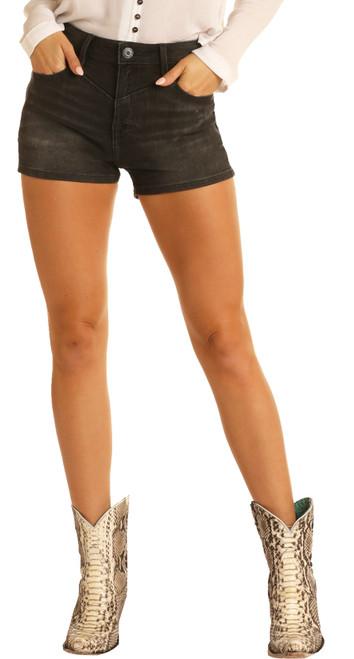 High Rise Black Wash Shorts #68H8202