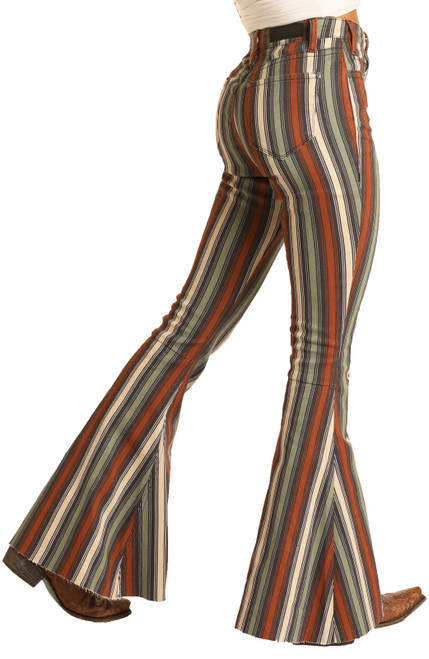 High Rise Extra Stretch Striped Bell Bottom Jeans #WHB8189