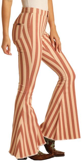 Button Bells High Rise Stretch Pull-On Striped Flare Jeans #WPB8178