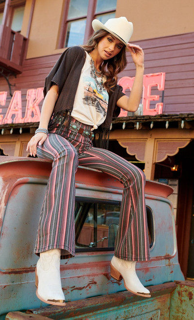 Bargain Bells High Rise Stretch Pull-On Striped Flare Jeans #WPH8175