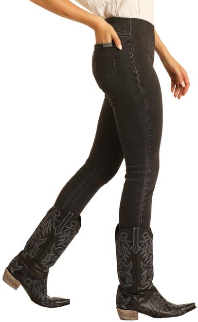 Skinny Mini High Rise Stretch Black Pull-On Jeans #WPS8179