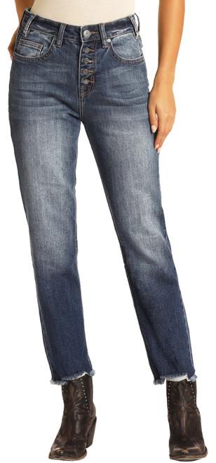 High Rise Extra Stretch Cropped Straight Leg Jeans #WSC8230