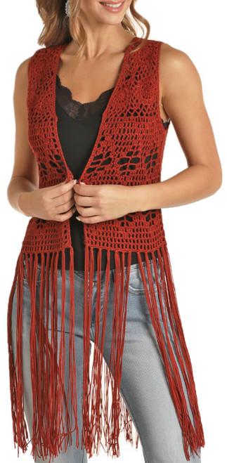 Crochet Fringe Knit Vest #49V8418