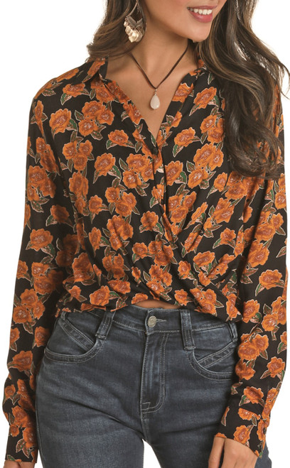 Floral Printed Wrap Front Blouse #B4B7623