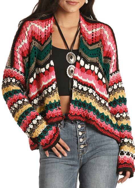 Cropped Crochet Cardigan #46-8433