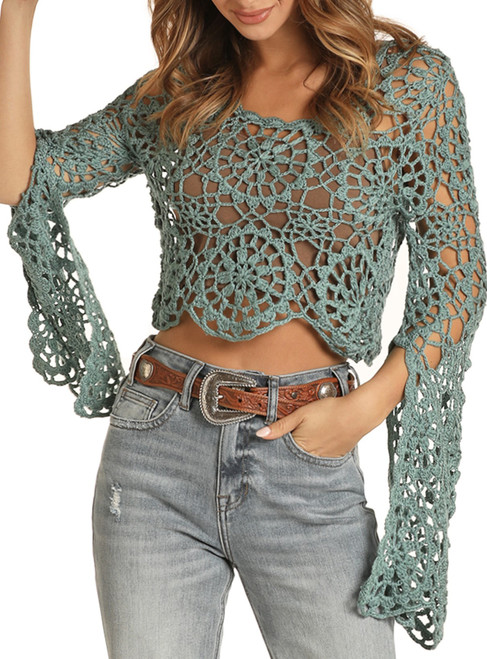 Cropped Crochet Top #46-8378