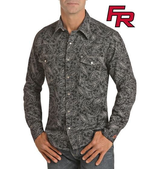 Flame Resistant Paisley Print Long Sleeve Work Shirt #B2S6561