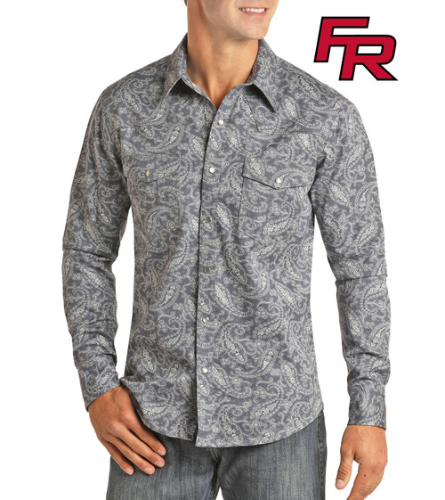 Flame Resistant Paisley Print Long Sleeve Work Shirt #B2S6562