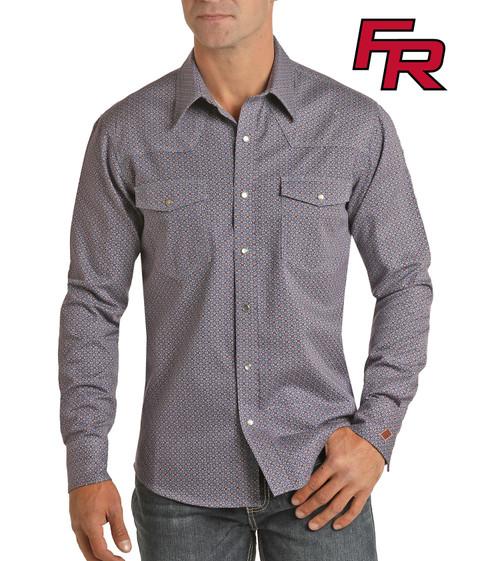 Flame Resistant Geometric Print Long Sleeve Work Shirt #B2S6564