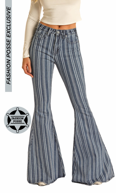 High Rise Extra Stretch Striped Bell Bottoms #WHB6220