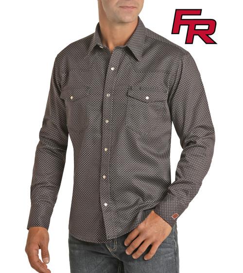 Flame Resistant Geometric Print Long Sleeve Work Shirt #B2S6565