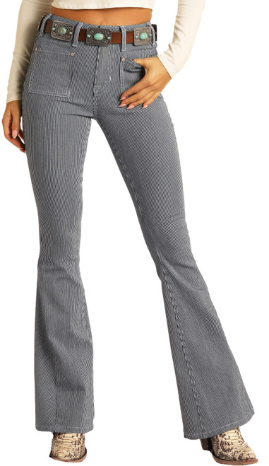 High Rise Extra Stretch Stripe Flare Jeans #WHN9771